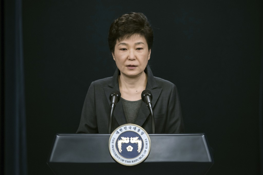 FILE - In this Friday, Nov. 4, 2016, file photo, South Korean President Park Geun-hye speaks during an address to the nation, at the presidential Blue...