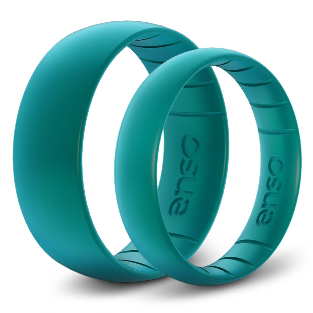 This undated photo provided by Enso Rings shows the Enso Silicone Rings. Metal wedding bands can be a serious drag. They pinch your finger when you're...