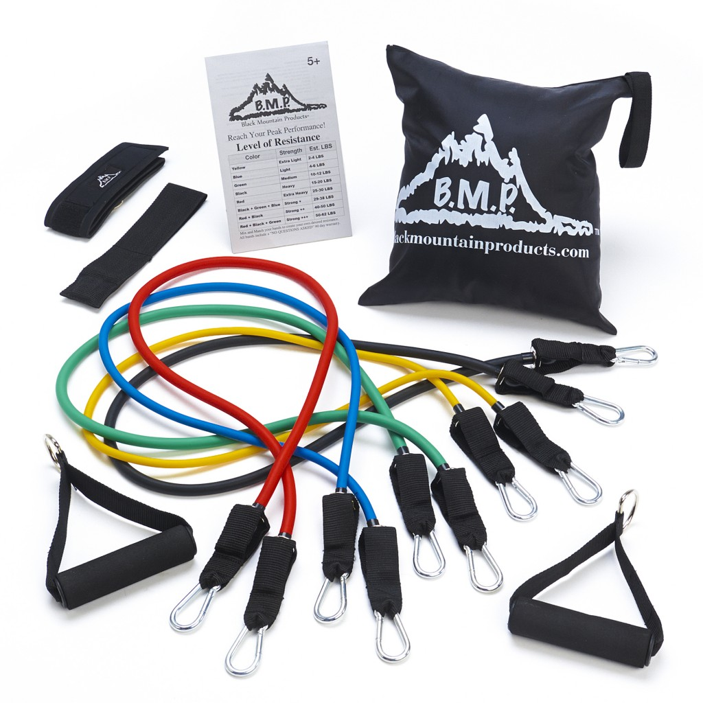 This undated photo provided by Black Mountain Products shows their stackable resistance bands. The easiest way to sneak in a solid workout at home or ...