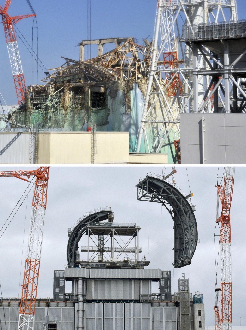 This combination of photos shows the Unit 3 building of Tokyo Electric Power Co.'s Fukushima Dai-ichi nuclear power plant, top in Feb. 28, 2012 and bo