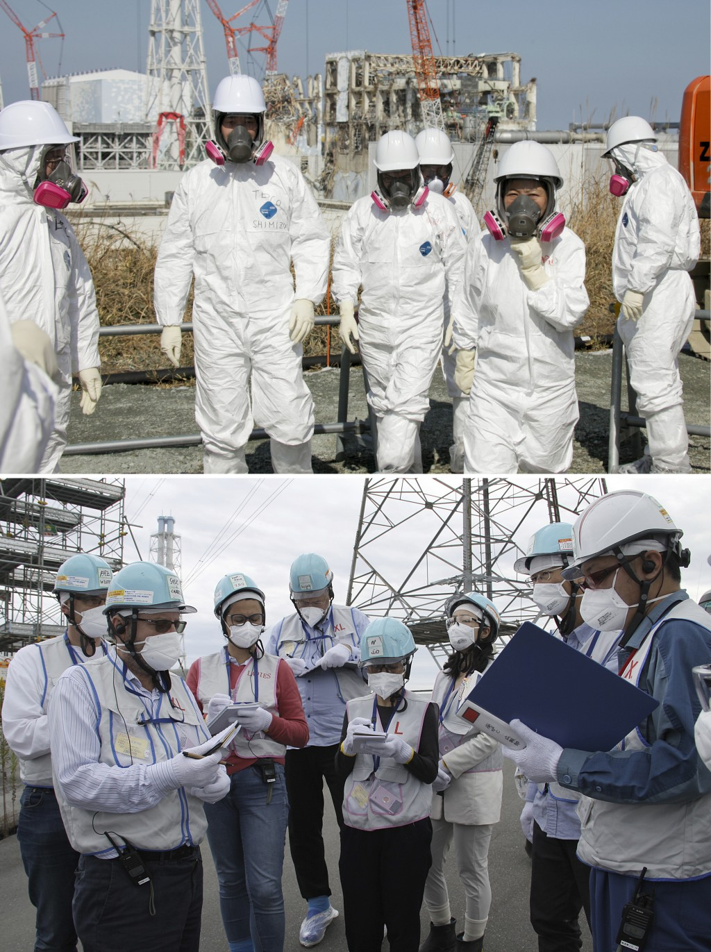 This combination of photos show journalists visiting the Tokyo Electric Power Co.,'s Fukushima Dai-ichi nuclear power plant, top photo taken Feb. 28,