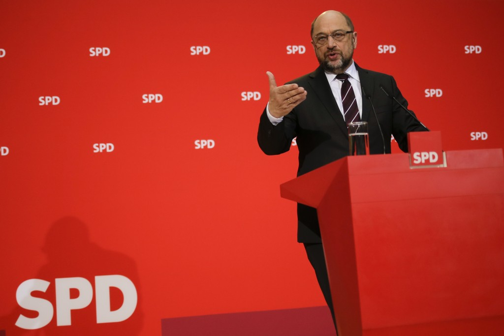 Social Democratic Party, SPD, chairman Martin Schulz addresses the media during a news conference after a board meeting at the party's headquarter in