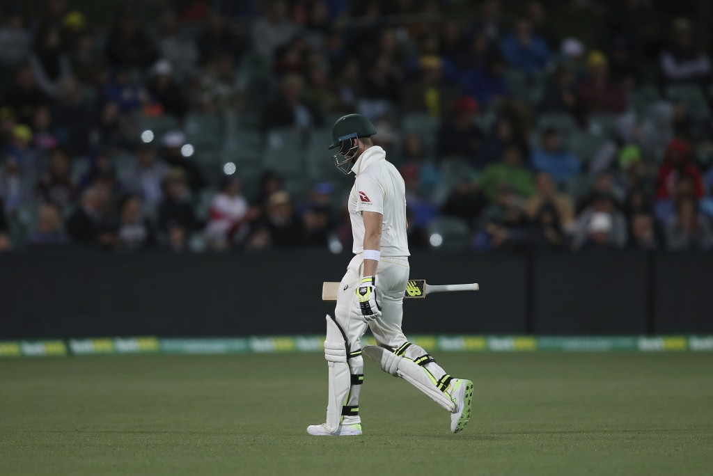 Australia's Steve Smith leaves the playing field after he was trapped LBW out for 6 runs against England during the third day of their Ashes cricket t