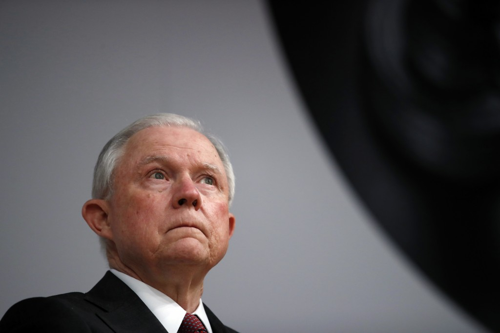 Attorney General Jeff Sessions pauses before speaking at the Global Forum on Asset Recovery (GFAR) at the International Finance Corporation in Washing