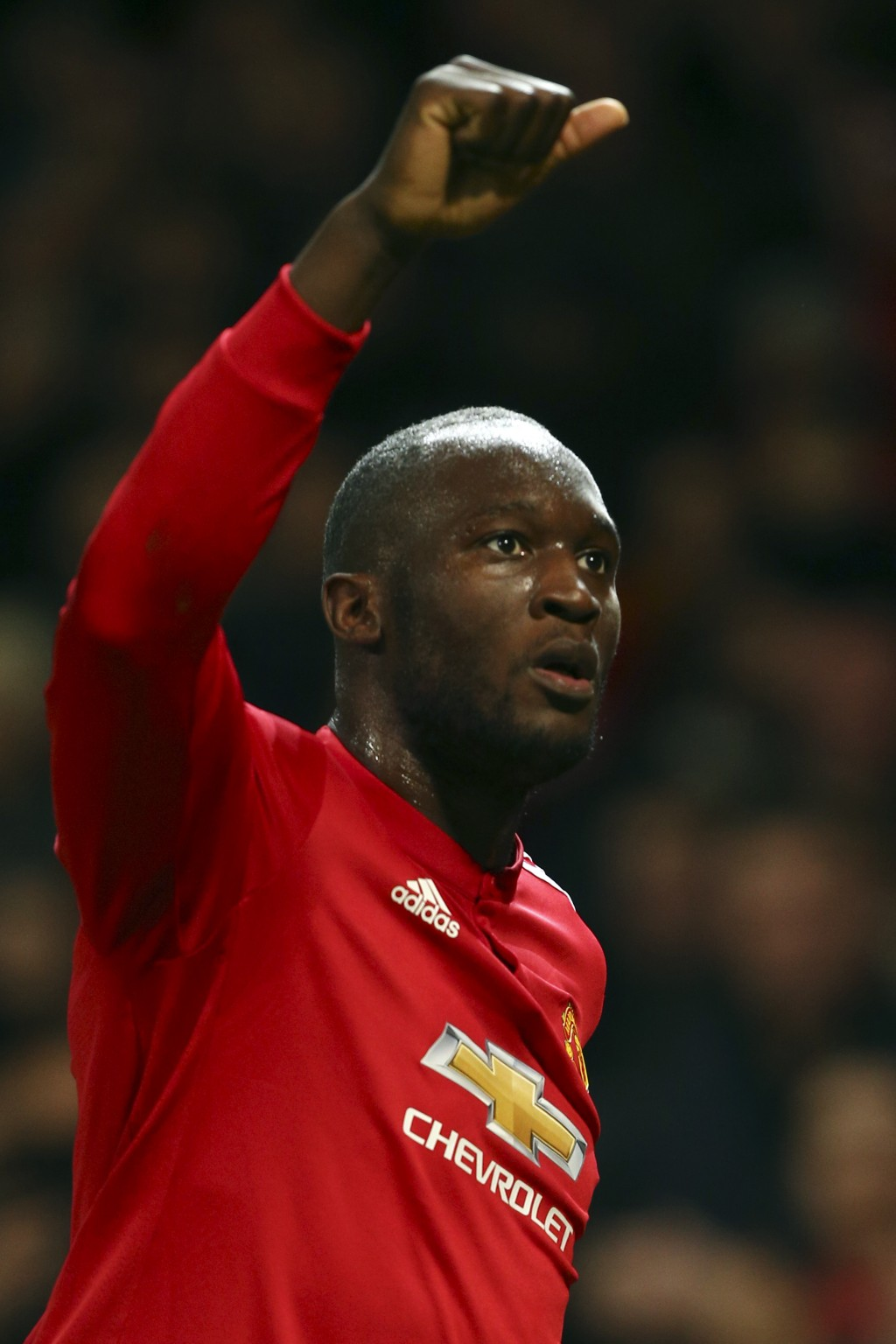 Manchester United's Romelu Lukaku celebrates after scoring his team first goal during the Champions League group A soccer match between Manchester Uni