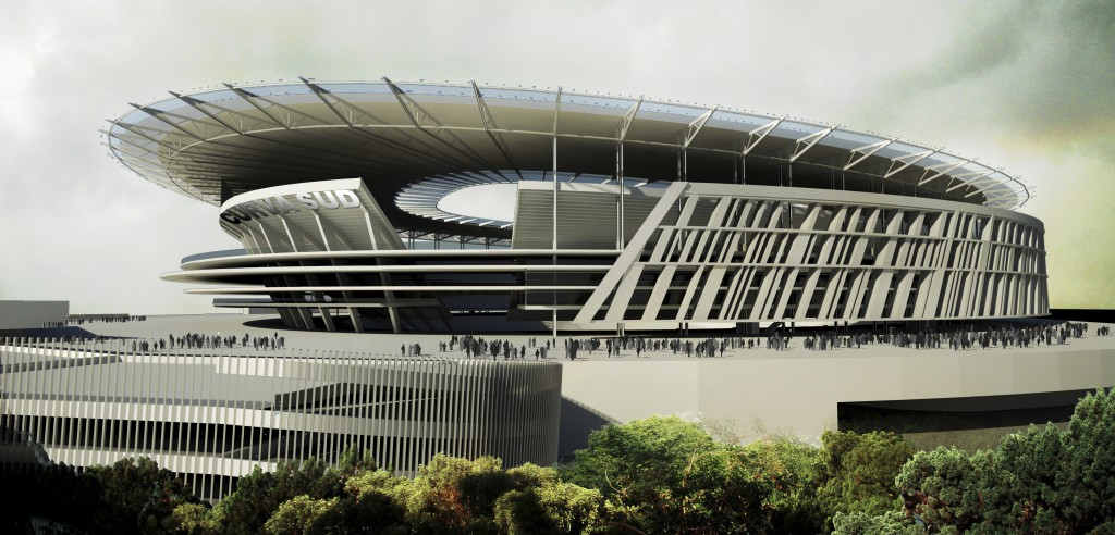 FILE - This March 26, 2014 artist rendering provided by Italian Serie A soccer club Roma, shows the new stadium to be build on the outskirts of Rome.