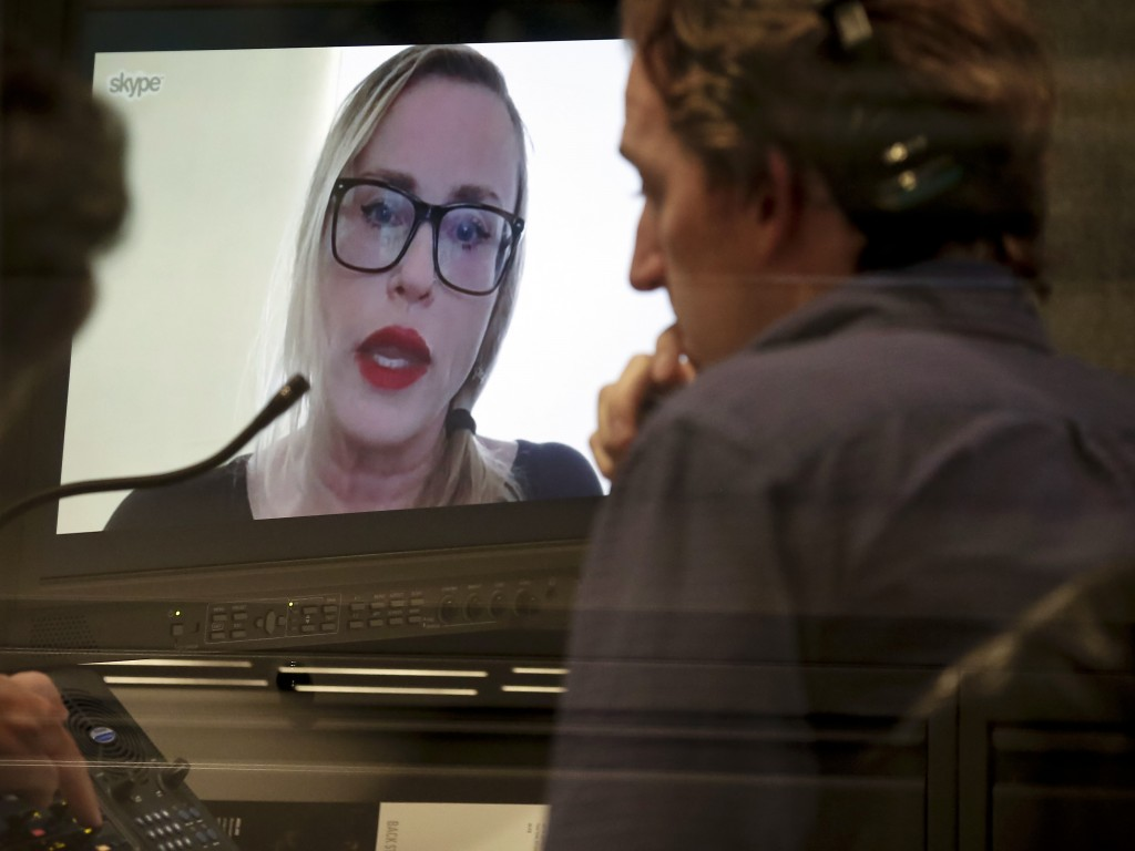 """Maxine """"Max"""" Page, a former senior editor at RadarOnline, speaks to The Associated Press via a Skype, Tuesday, Dec. 5, 2017, in New York. Page is amon"""