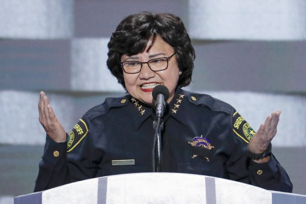FILE - In this July 28, 2016, file photo, Dallas County Sheriff Lupe Valdez speaks during the final day of the Democratic National Convention in Phila