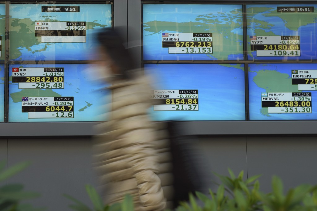 A person walks past an electronic stock board showing Japan's Nikkei 225 index at a securities firm in Tokyo Wednesday, Dec. 6, 2017. Shares in Asia f