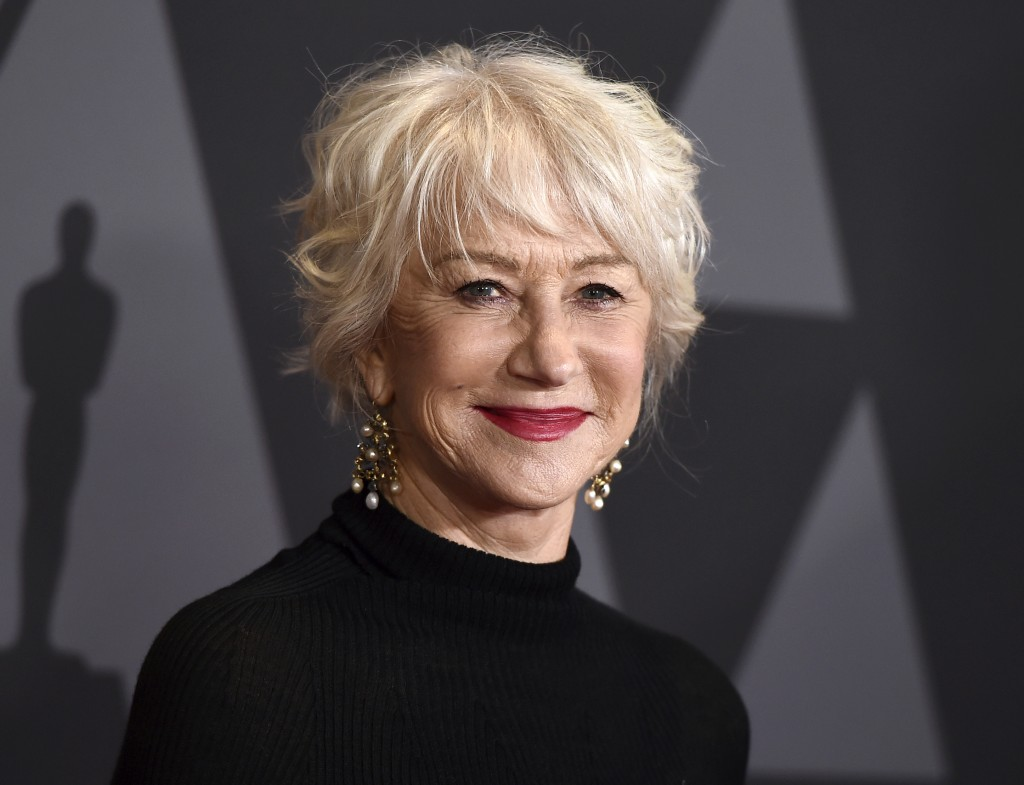 FILE - In this Nov. 11, 2017 file photo, Helen Mirren arrives at the 9th annual Governors Awards in Los Angeles. Mirren will be the recipient of the C