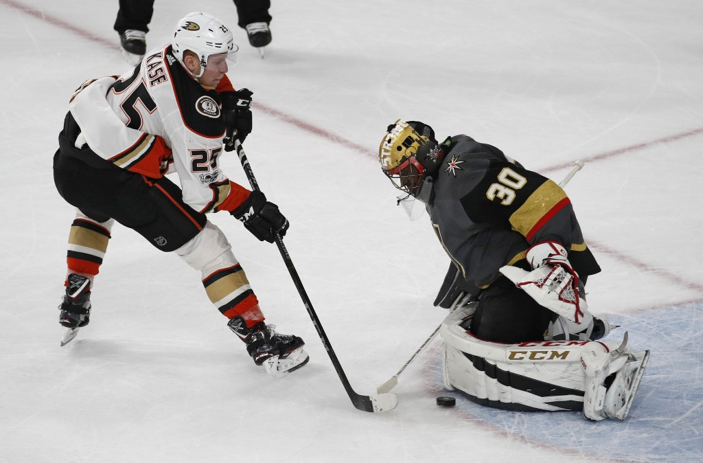 Vegas Golden Knights goalie Malcolm Subban blocks a shot by Anaheim Ducks right wing Ondrej Kase during the shootout in an NHL hockey game Tuesday, De