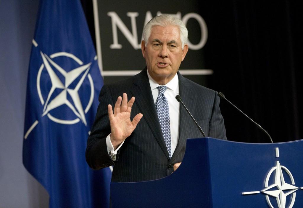 U.S. Secretary of State Rex Tillerson speaks during a media conference at NATO headquarters in Brussels on Wednesday, Dec. 6, 2017. U.S. Secretary of