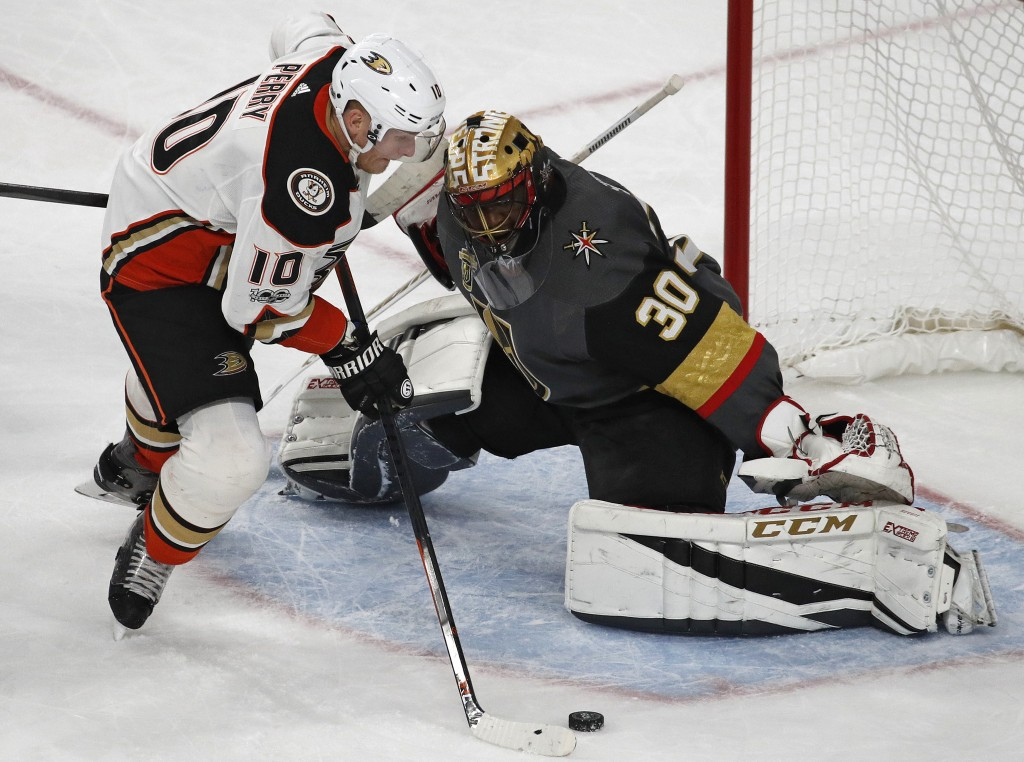 Anaheim Ducks right wing Corey Perry attempts a shot against Vegas Golden Knights goalie Malcolm Subban during the third period of an NHL hockey game