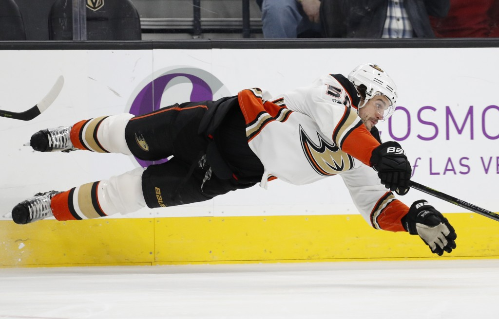Anaheim Ducks center Antoine Vermette trips during the second period of an NHL hockey game against the Vegas Golden Knights, Tuesday, Dec. 5, 2017, in