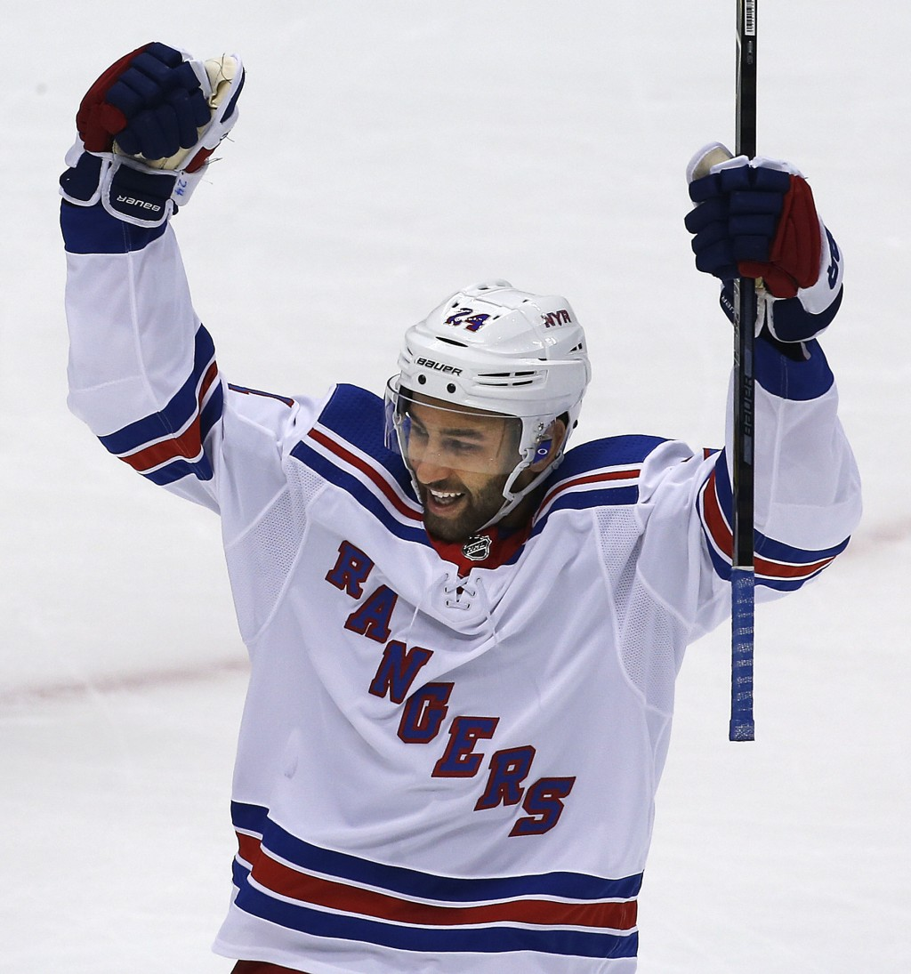 New York Rangers' Boo Nieves celebrates his goal in the first period of an NHL hockey game against the Pittsburgh Penguins in Pittsburgh, Tuesday, Dec