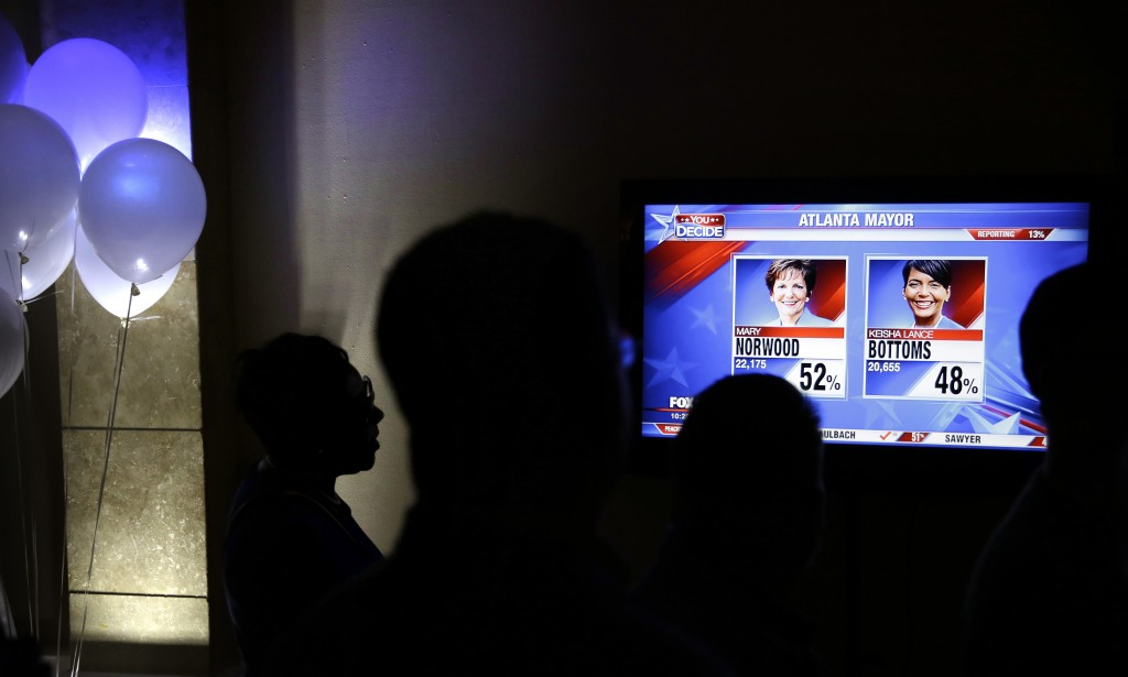 Early returns are broadcast on a television at an election night party for Atlanta city councilwoman and mayoral candidate Mary Norwood in Atlanta, Tu