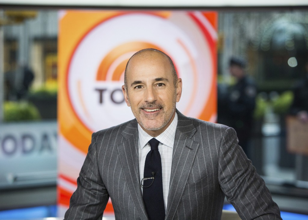 "This Nov. 8, 2017 photo released by NBC shows Matt Lauer on the set of the ""Today"" show in New York. On the week host Matt Lauer was fired because of"