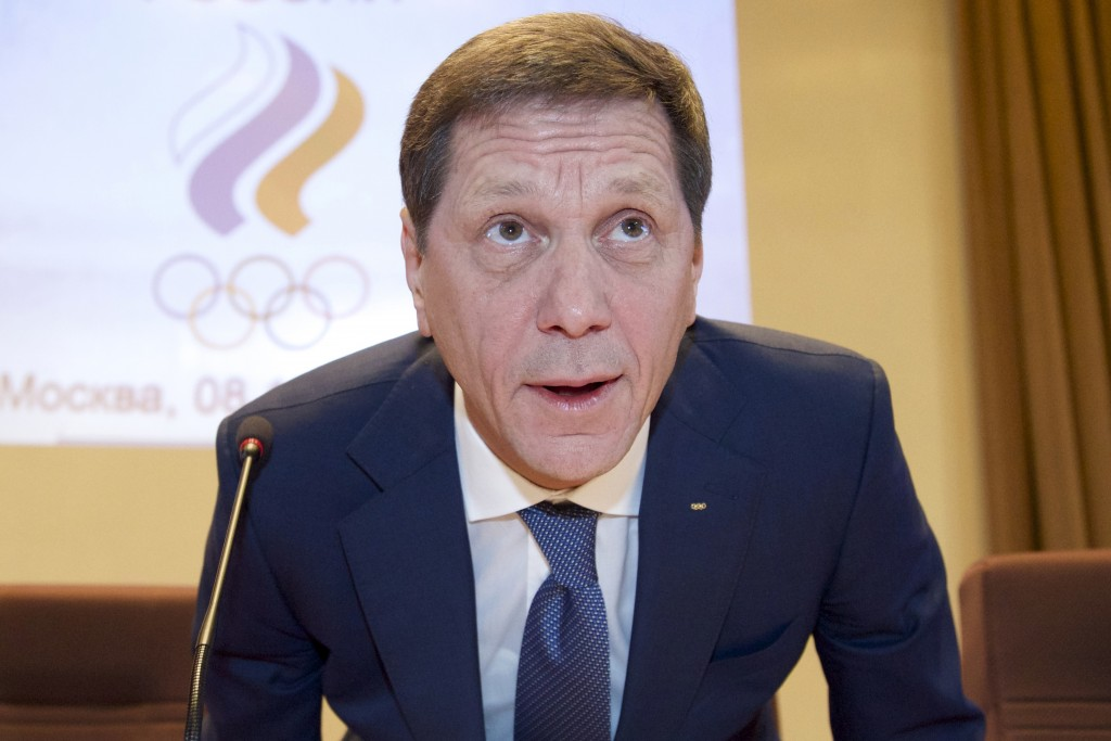 FILE - In this Thursday, Dec. 8, 2016 file photo Russian Olympic Committee acting head Alexander Zhukov takes his sit arriving for the annual meeting