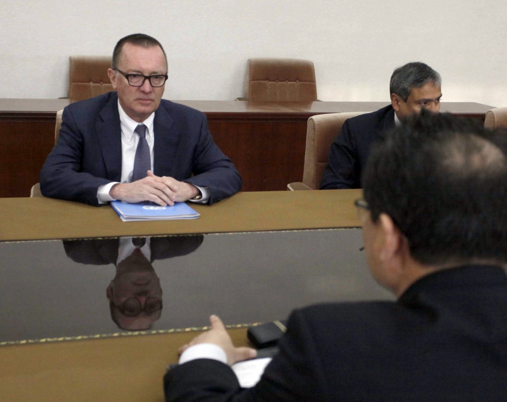 U.N. Undersecretary-General for Political Affairs Jeffrey Feltman, left, talks with North Korean Vice Foreign Minister Pak Myong Guk at the People's P
