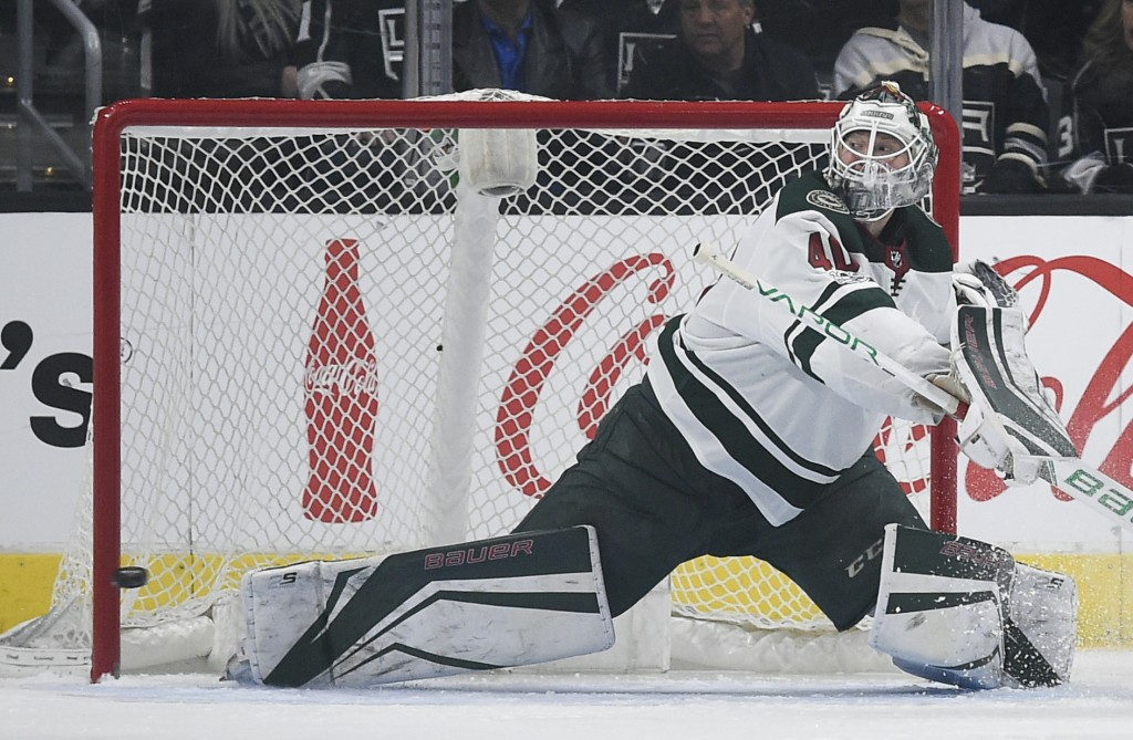 Minnesota Wild goalie Devan Dubnyk gives up a goal to Los Angeles Kings right wing Marian Gaborik during the third period of an NHL hockey game in Los