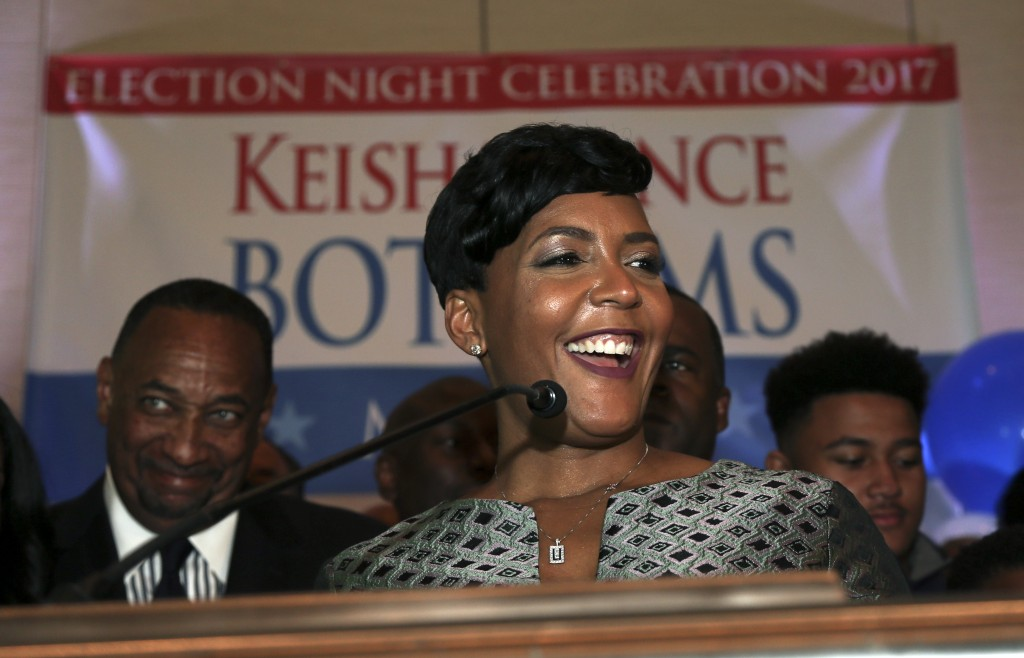 Atlanta mayoral candidate Keisha Lance Bottoms declares victory during an election-night watch party Wednesday, Dec. 6, 2017, in Atlanta. Atlanta's tw