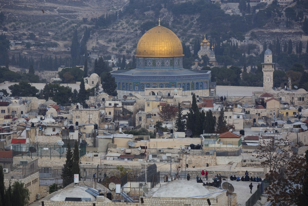 A view of Jerusalem's old city is seen Tuesday, Dec. 5, 2017. U.S. officials say President Donald Trump will recognize Jerusalem as Israel's capital o