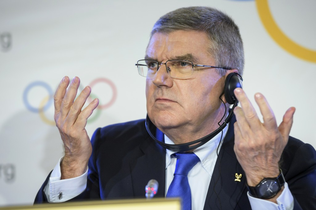 International Olympic Committee, IOC, President Thomas Bach from Germany, reacts during a media conference after an Executive Board meeting, in Lausan
