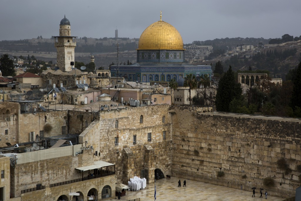A view of the Western Wall and the Dome of the Rock, some of the holiest sites for for Jews and Muslims, is seen in Jerusalem's Old City, Wednesday, D