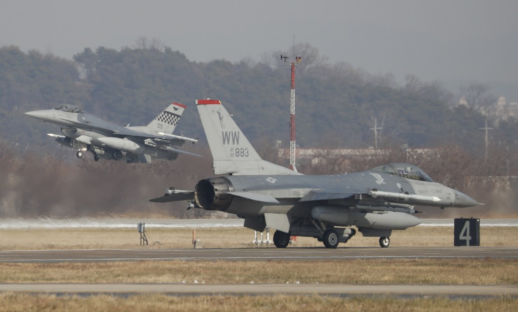 U.S. Air Force F-16 fighter jets take part in a joint aerial drills called Vigilant Ace between U.S and South Korea, at the Osan Air Base in Pyeongtae...