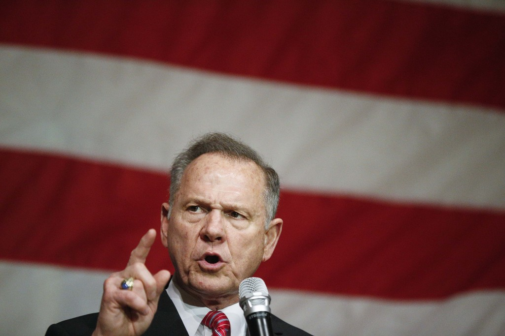 Former Alabama Chief Justice and U.S. Senate candidate Roy Moore speaks at a campaign rally, Tuesday, Dec. 5, 2017, in Fairhope Ala. (AP Photo/Brynn A