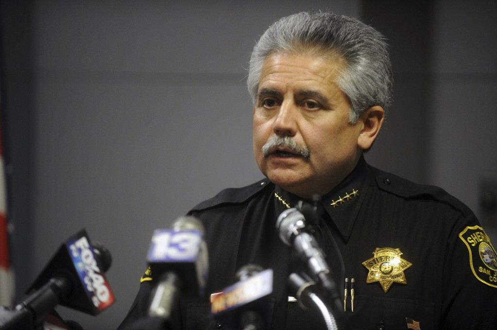 FILE -- In this March 30, 2012, file photo is San Joaquin County Sheriff Steve Moore during a news conference at the San Joaquin County Jail in French