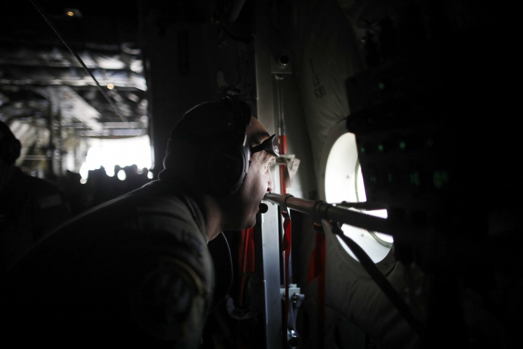 A U.S. soldier takes part in a joint aerial drills called Vigilant Ace between U.S and South Korea, at the Osan Air Base in Pyeongtaek, South Korea, W...
