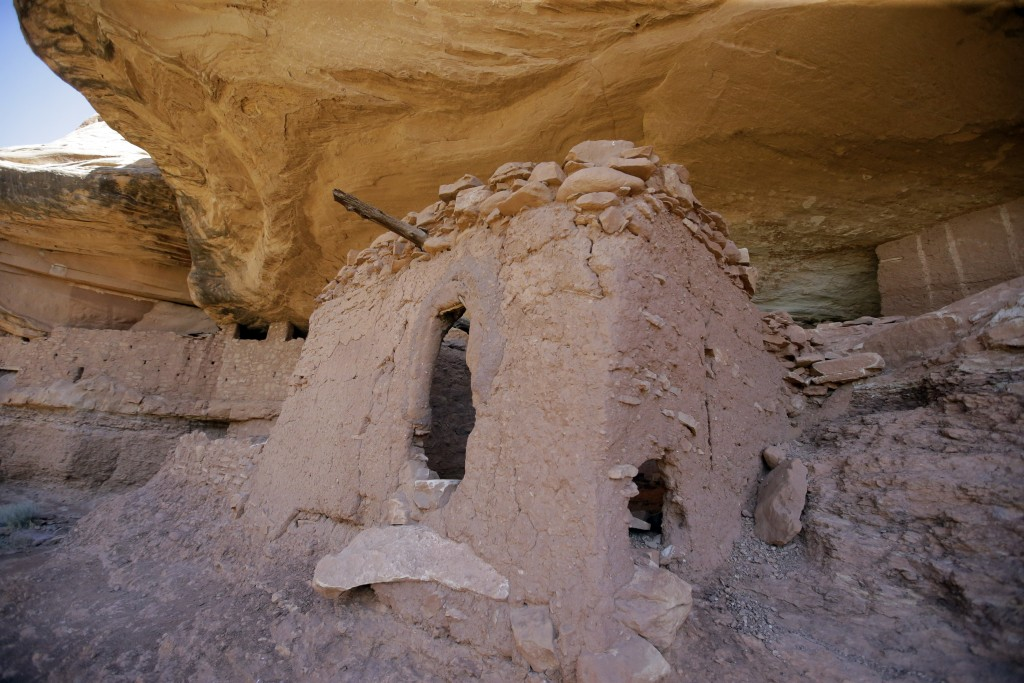 "FILE - This July 15, 2016, file photo, shows the ""Moonhouse"" in McLoyd Canyon which is part of Bears Ears National Monument, near Blanding, Utah. Pres"