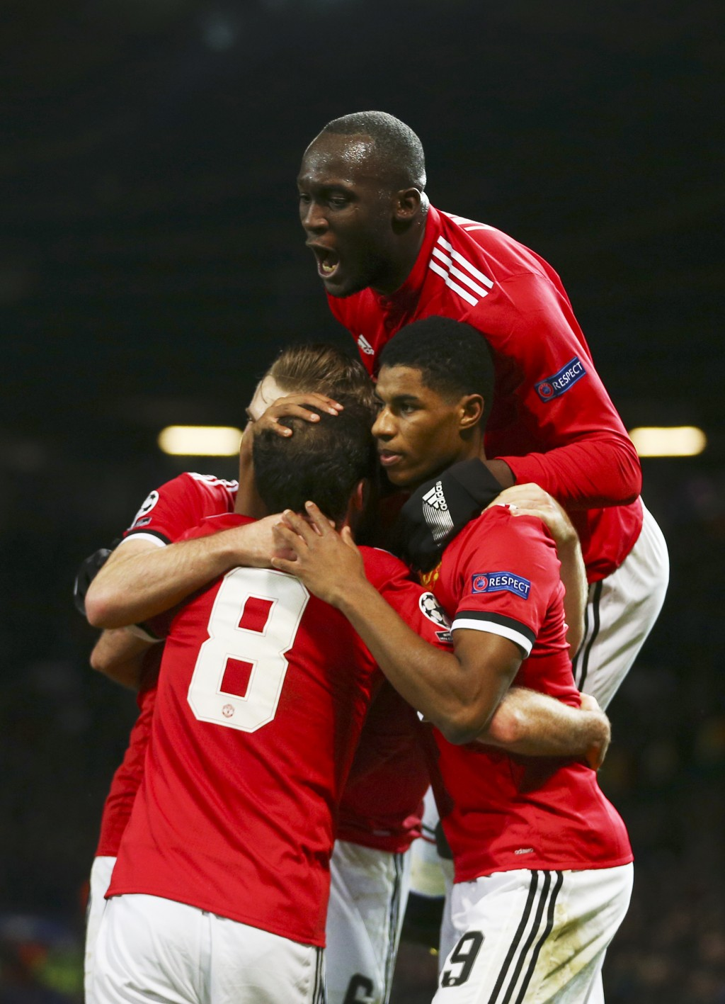 Manchester United's team players celebrate after scoring a goal during the Champions League group A soccer match between Manchester United and CSKA Mo