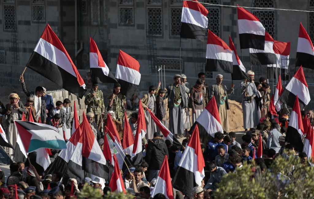Supporters of Shiite Houthi rebels attend a rally in Sanaa, Yemen, Tuesday, Dec. 5, 2017. The killing of Yemen's ex-President Ali Abdullah Saleh by th