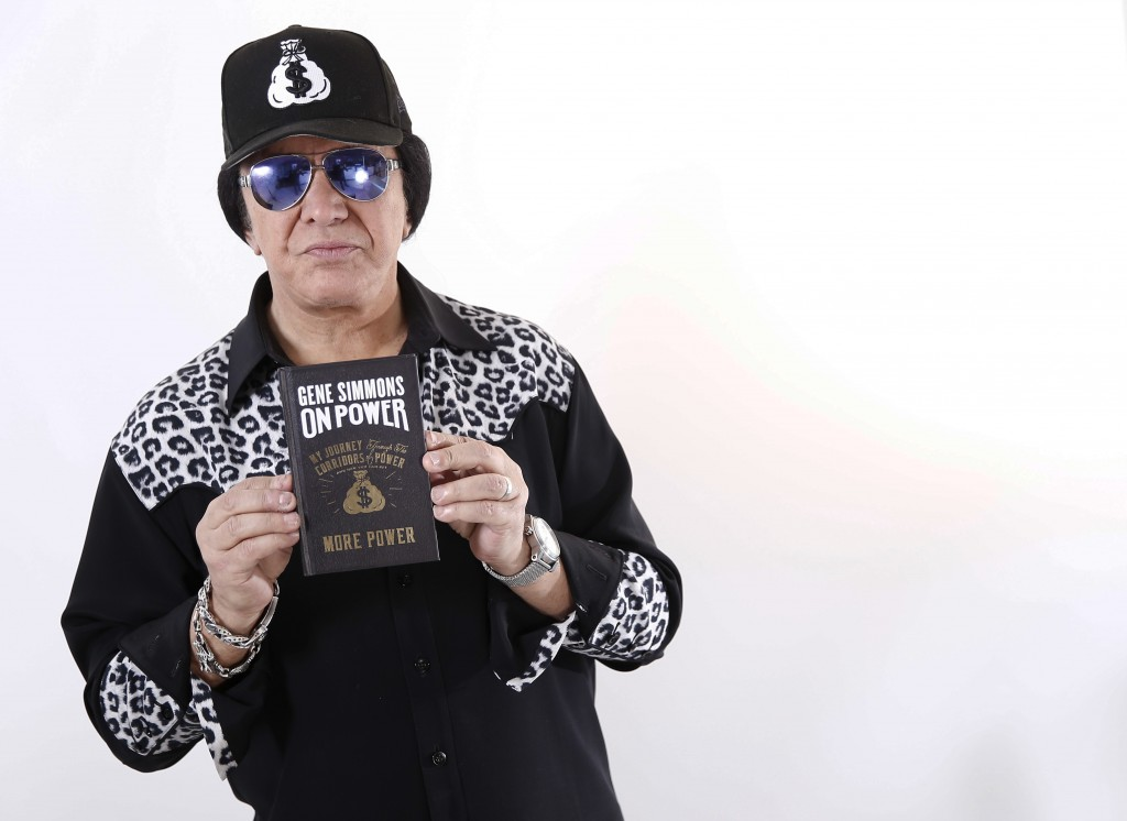 """In this Nov. 14, 2017 photo, Kiss frontman Gene Simmons poses for a portrait in New York to promote his book, """"On Power."""" (Photo by Brian Ach/Invision"""