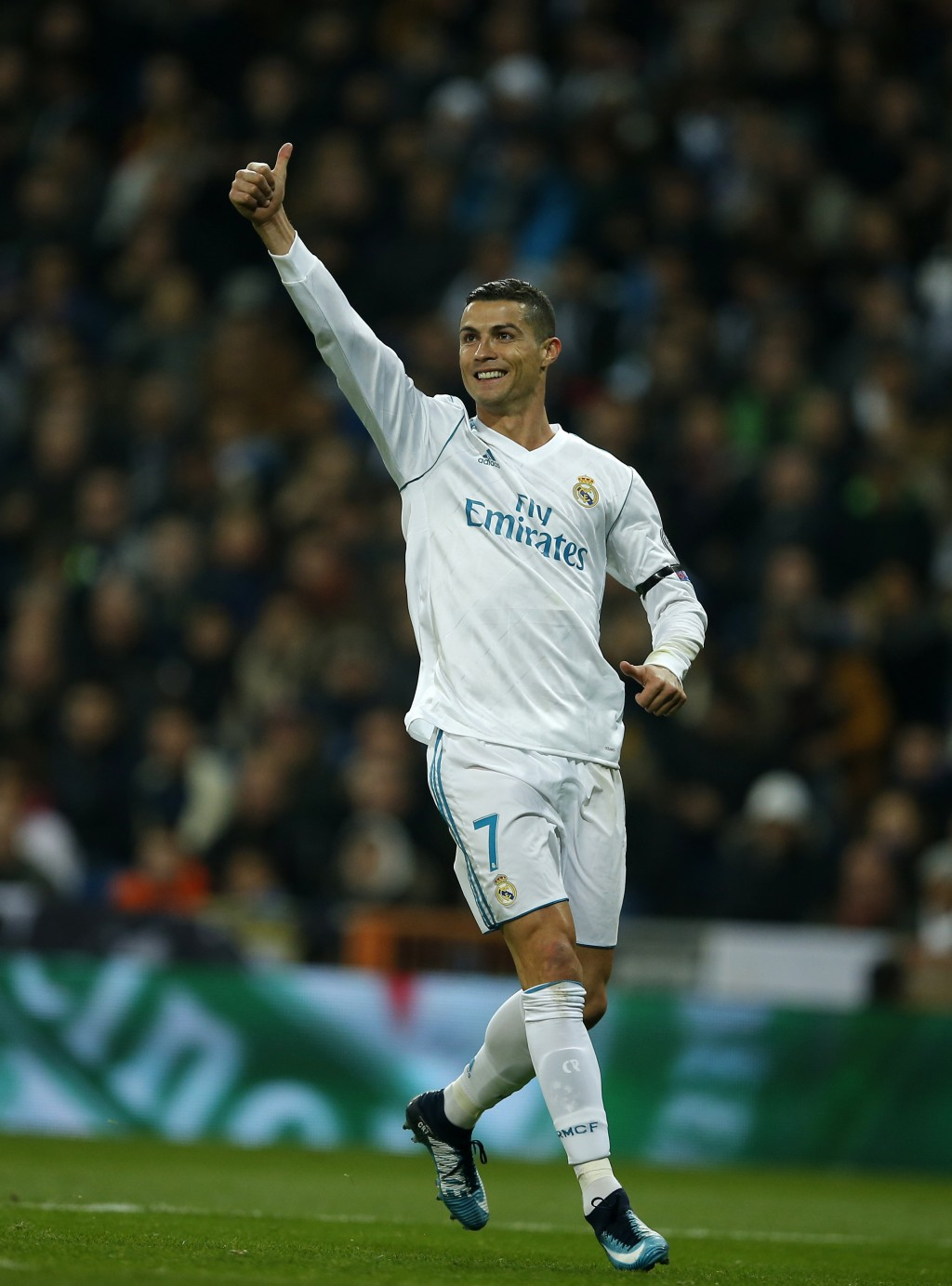 Real Madrid's Cristiano Ronaldo celebrates after he scored his side's second goal during the Champions League Group H soccer match between Real Madrid