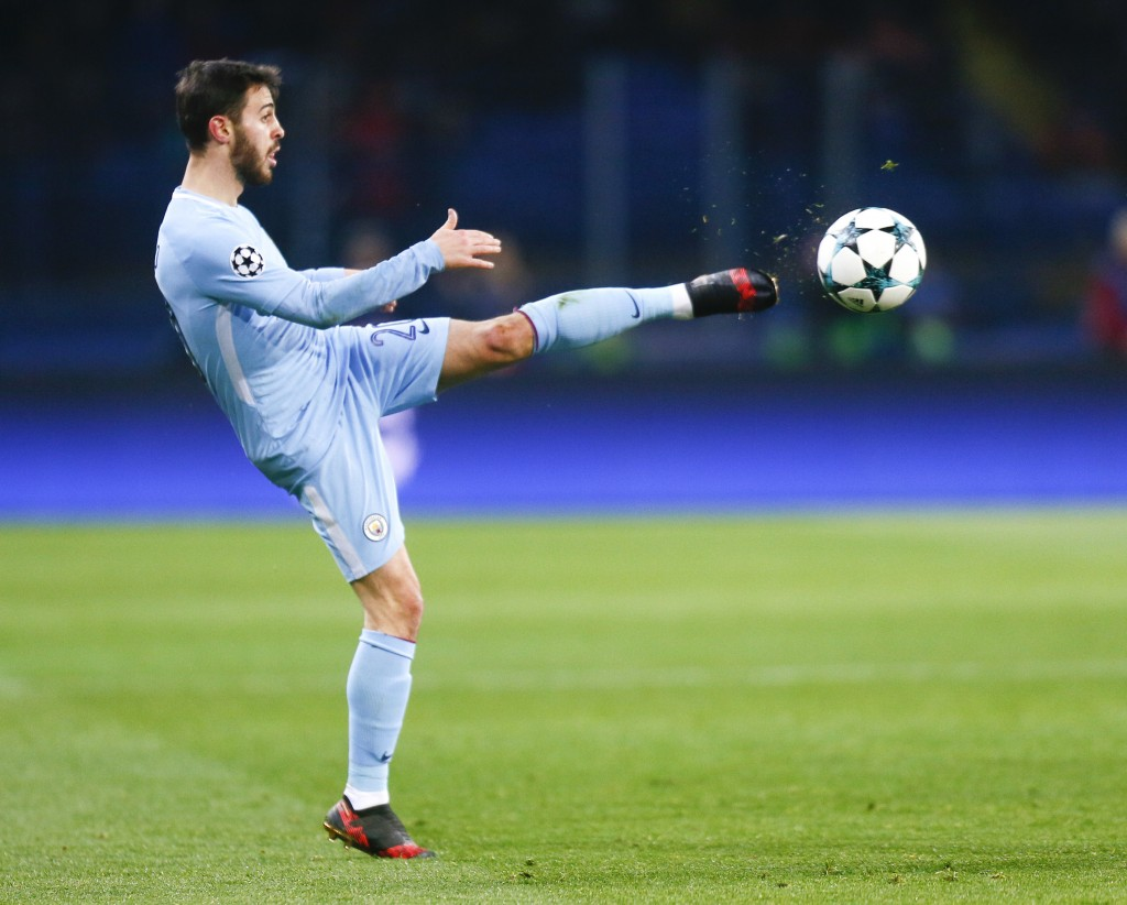 Manchester City's Bernardo Silva controls the ball during the Champions League group F soccer match between Manchester City and Shakhtar Donetsk at th