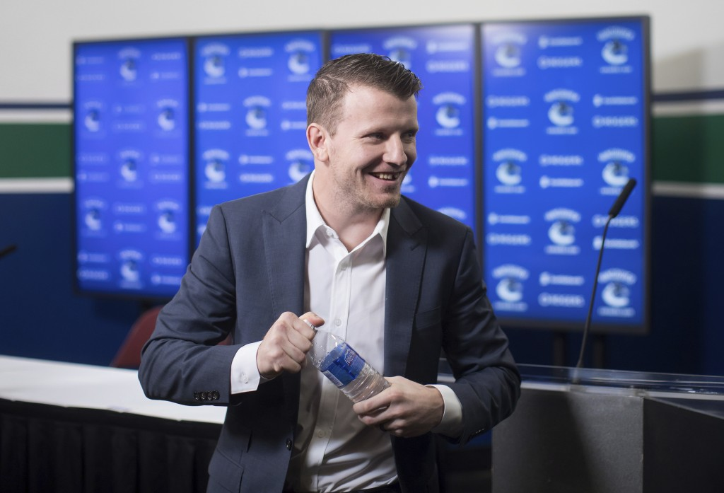 Derek Dorsett, who had to retire from playing professional hockey with the Vancouver Canucks recently due to medical reasons, leaves following a news