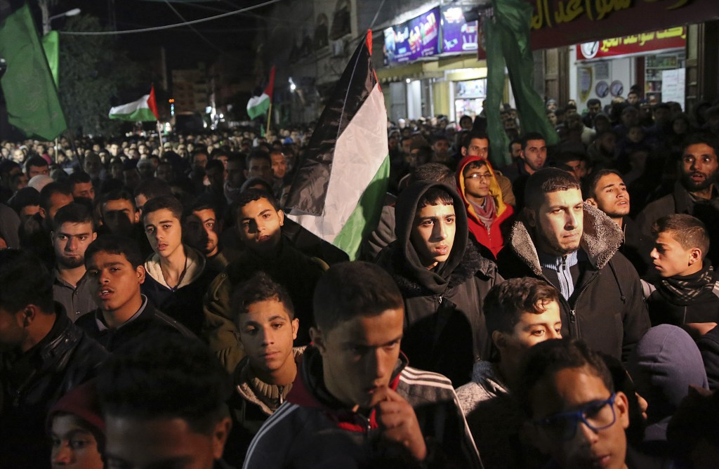Hamas supporters stage a protest against the possible U.S. decision to recognize Jerusalem as Israel's capital, in Jebaliya Refugee Camp, Gaza Strip,