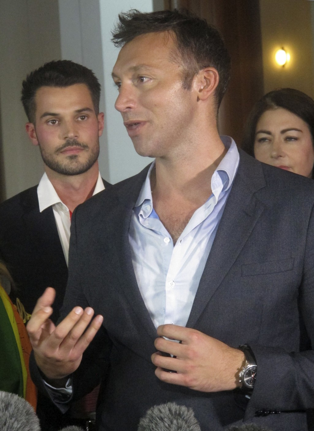 Australian former Olympic champion swimmer Ian Thorpe addresses reporters at Parliament House in Canberra, Australia, on Thursday, Dec. 7, 2017.  Aust