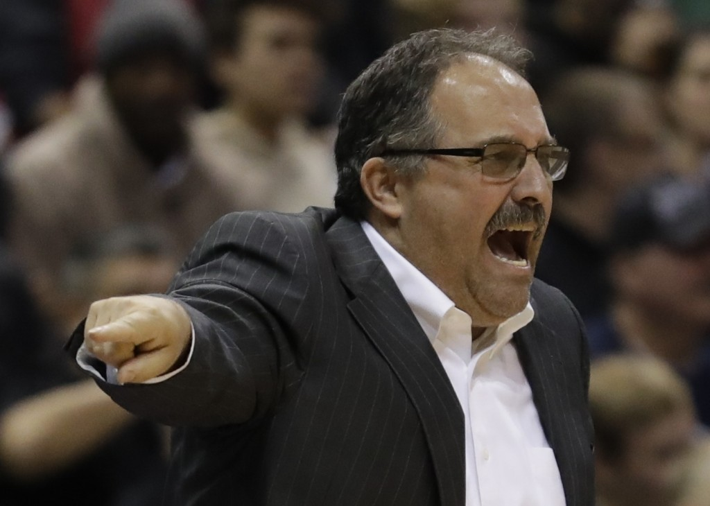 Detroit Pistons head coach Stan Van Gundy reacts during the first half of an NBA basketball game against the Milwaukee Bucks Wednesday, Dec. 6, 2017,