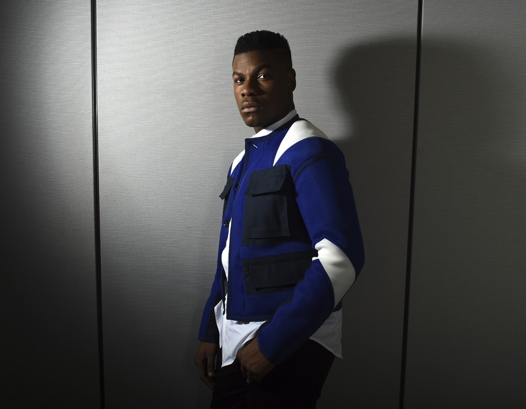 "This Dec. 3, 2017 photo shows John Boyega posing for a portrait during the ""Star Wars: The Last Jedi"" press junket in Los Angeles Boyega stars as Finn"