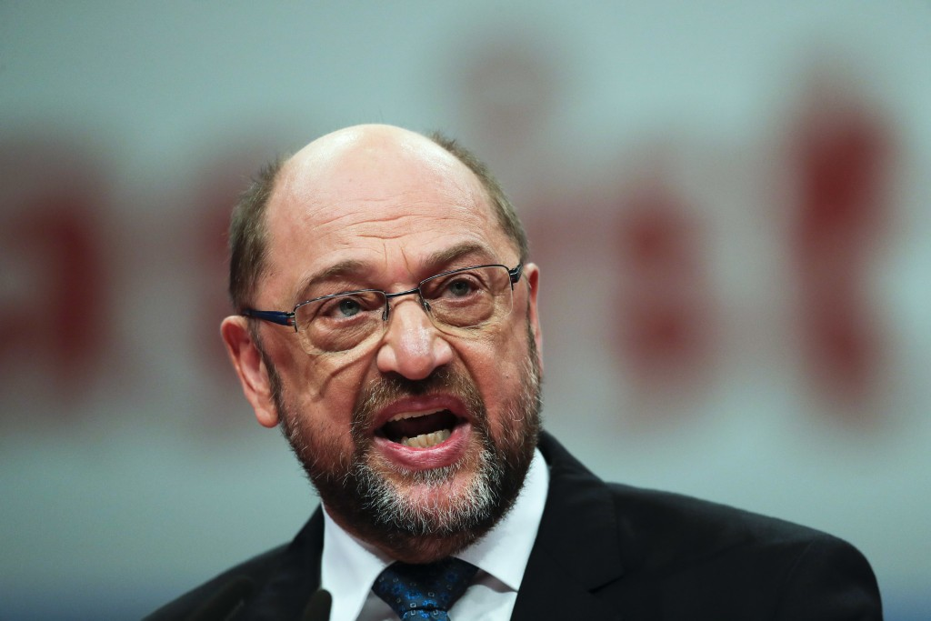 Social Democratic Party chairman Martin Schulz delivers his speech at the party's convention in Berlin, Thursday, Dec. 7, 2017. Germany's center-left
