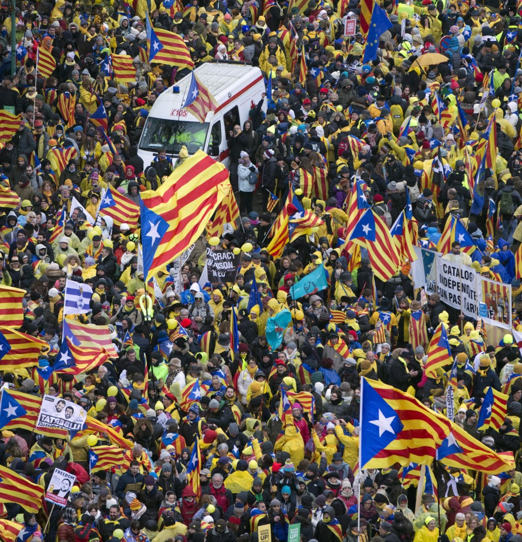 Pro-independence Catalan supporters gather to begin a demonstration near the EU quarter in Brussels on Thursday , Dec. 7, 2017. Thousands of Pro-Catal