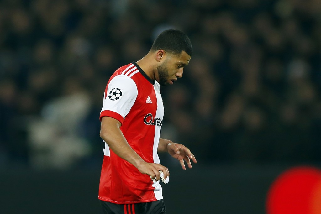 Feyenoord's Tonny Vilhena leaves the pitch after getting a red card in the second half during a Champions League Group F soccer match between Feyenoor