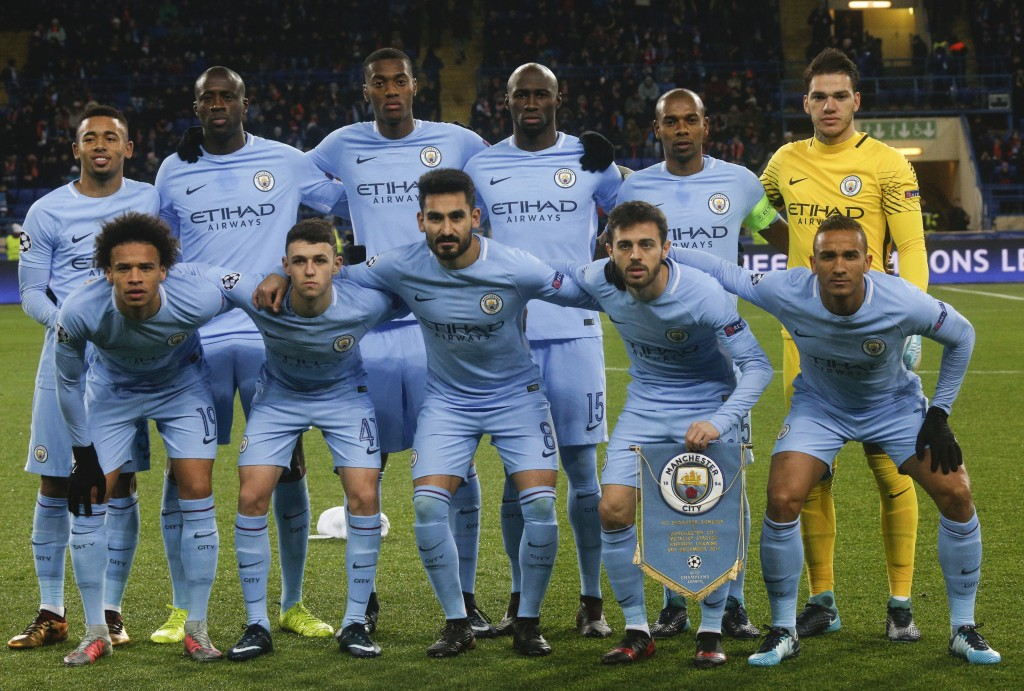 Manchester City players pose for a photo prior the Champions League group F soccer match between Manchester City and Shakhtar Donetsk at the Metalist