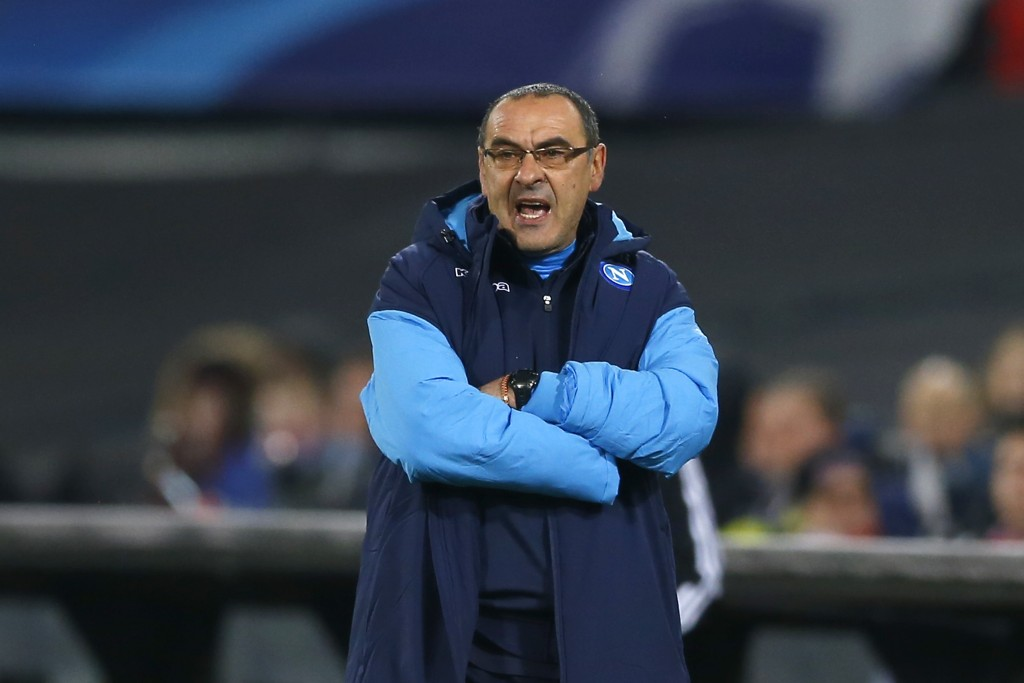 Napoli coach Maurizio Sarri watches his team during a Champions League Group F soccer match between Feyenoord and Napoli at the Kuip stadium in Rotter