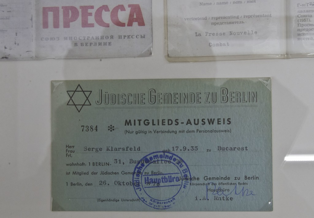 In this photo taken on Tuesday, Dec. 5, 2017, a document certifying that  Nazi hunter Serge Klarsfeld belonged to the local Jewish community, on displ