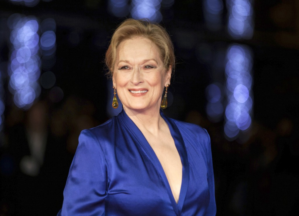"FILE - In this Oct. 7, 2015 file photo, Meryl Streep appears at the premiere of the film ""Suffragette,"" at the opening gala of the London film festiva"